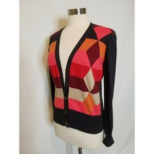 Cabi Cardigan Sweater  Color Block Argyle Striped